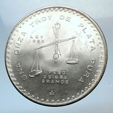1980 MEXICO Huge Medallic 4.1cm SILVER Onza Mexican COIN PRESS Scales i72026