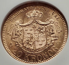 1881 SWEDEN King OSCAR II Antique GOLD 20 Kronor SWEDISH Coin NGC MS 64 i70148
