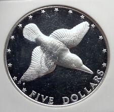 1976 COOK ISLANDS Proof Silver 5 Dollars Coin MANGARA KINGFISHER BIRD NGC i72134