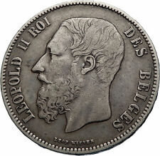 1873 BELGIUM Antique Silver 5 Francs Coin of King LEOPOLD II w LION i71987