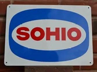 SOHIO Metal Gas Station Pump Sign Standard Oil Ohio Boron Ad logo Mechanic Shop