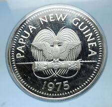 1975 PAPUA NEW GUINEA Proof Silver 5 Kina Coin w PAPUAN Harpy EAGLE i68594