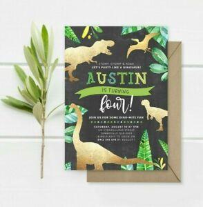dinosaurs birthday greeting invitations