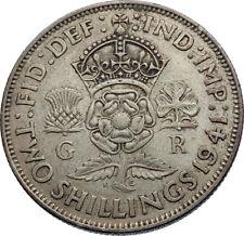 1941 United Kingdom Great Britain GEORGE VI Silver Florin 2Shillings Coin i71950