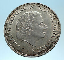 1959 Netherlands Kingdom Queen JULIANA Authentic Silver 2 1/2 Gulden Coin i77491