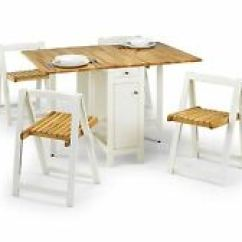 Rubberwood Butterfly Table With 4 Chairs Marcel Breuer Chair Australia Space Saving Furniture In Kitchen Dining Tables Ebay Julian Bowen Savoy Folding White Oak
