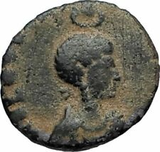 EUDOXIA Arcadius Wife 401AD Authentic Ancient Roman Coin VICTORY CHI-RHO i67696