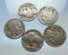 GROUP of 5 Antique UNITED STATES US Buffalo Nickel Coins NATIVE AMERICAN i70766