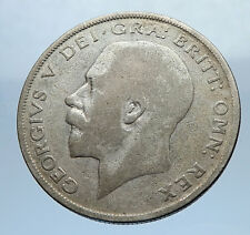 1923 Great Britain United Kingdom UK King GEORGE V Silver Half Crown Coin i69470