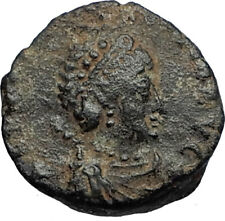 EUDOXIA Arcadius Wife 400AD Authentic Ancient Roman Coin GOD's HAND CROSS i67720