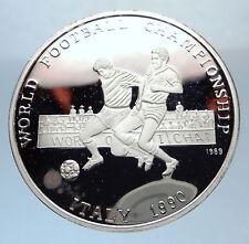 1989 PROOF Afghanistan 1990 Silver WORLD SOCCER 500 Afghanis Vintage Coin i71904