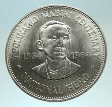1964 PHILIPPINES Birth of HERO Apolinario Mabini Large 1 Peso SILVER Coin i76811