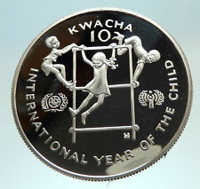 1980 ZAMBIA African Year of Children Genuine Proof Silver 10 Kwacha Coin i69817