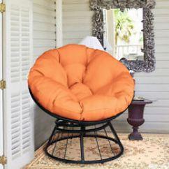 Metal Papasan Chair Outdoor Cusions Contemporary Chairs Ebay Round Swivel Soft Orange Cushion Garden Patio Furniture