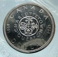 1964 CANADA Quebec Charlottetown Antique Genuine BIG SILVER Dollar Coin i75233