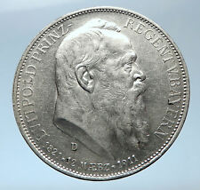 1911 GERMANY Bavaria Otto I w PRINCE LUITPOLD Antique Silver 3 Marks Coin i73862