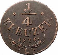 1816 AUSTRIA Emperor Franz II Hapsburg Antique 1/4 Kreuzer Austrian Coin i76543