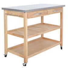 large kitchen cart under sink organizer island ebay size trolley wood rolling serving utility cabinet