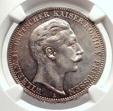 1912 PRUSSIA KINGDOM Germany WILHELM II Silver 3 Mark German Coin NGC i71314