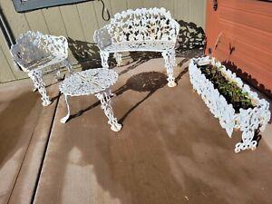 white cast iron tabletop patio garden