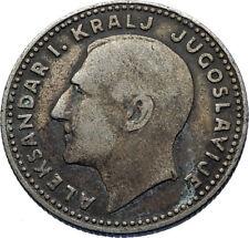 1931 YUGOSLAVIA King Aleksandar I w Eagle Antique Silver 10 Dinara Coin i72425