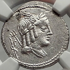 Roman Republic Apollo ASCLEPIUS Snake 85BC Rome Ancient Silver Coin NGC i61966