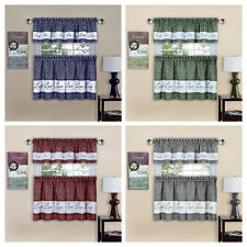 kitchen drapes glass backsplash country in curtains valances ebay gingham check live laugh love 3 pc curtain set assorted colors