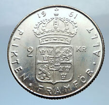 1961 SWEDEN Antique Silver 2 Kronor w KING Gustav VI SWEDISH Vintage Coin i71813