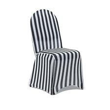 loose covers for queen anne chairs stress less chair striped furniture slipcovers ebay 6 pack stretch spandex black and white slip