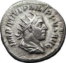 PHILIP I 'the Arab' 247AD Silver Ancient Roman Coin Good luck Felicitas i70190