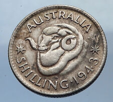 1943 AUSTRALIA King George VI of United Kingdom Silver Shilling Coin RAM i69246