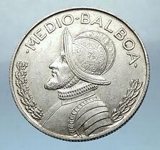 1962 PANAMA Big 3cm Silver Spanish CONQUISTADOR Half BALBOA Coin i68259
