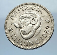 1959 AUSTRALIA UK Queen Elizabeth II of Silver Shilling Vintage Coin RAM i69476