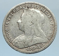 1901 UK Great Britain United Kingdom QUEEN VICTORIA 3 Pence Silver Coin i74321