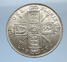 1915 United Kingdom Great Britain GEORGE V Silver Florin 2 Shillings Coin i69410