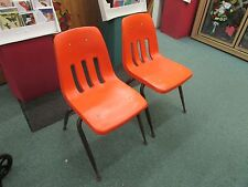 orange bucket chair small chaise lounge chairs for bedroom uk plastic antique ebay 2 vintage virco hard mid century retro