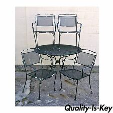 vintage wrought iron table and chairs big joe roma chair antique dining sets ebay outdoor patio set 4 meadowcraft woodard
