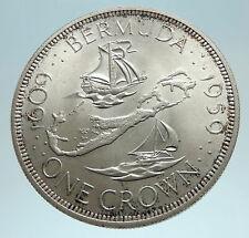 1959 Bermuda British Colony Elizabeth II LARGE Boats Silver 1 Crown Coin i76202