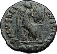 EUDOXIA Arcadius Wife 401AD Authentic Ancient Roman Coin VICTORY CHI-RHO i69936