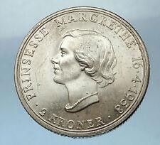 1958 DENMARK Frederick IX Silver 2 Kroner Coin Princess Margrethe 18th i68533