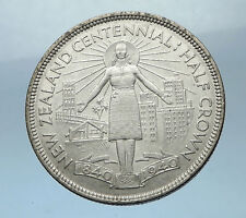 1940 NEW ZEALAND 100th Anni under UK King George VI Silver1/2 Crown Coin i68513