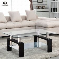 glass table sets for living room paint ideas feature wall modern coffee tables ebay rectangular with shelf black leg furniture