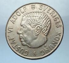 1955 SWEDEN King GUSTAV VI ADOLF 5 Kronor LARGE Silver SWEDISH Coin  i68268