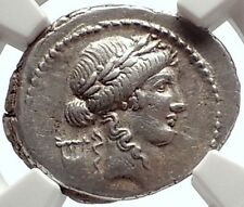 Roman Republic Ancient 42BC Silver Coin APOLLO & DIANA LUCIFERA TORCH NGC i69313