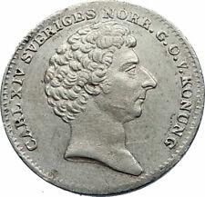 1836 SWEDEN Swedish Carl XIV Johan Antique Silver 1/16 Riksdaler Coin i71782