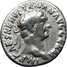 TRAJAN  98AD Rome Authentic Genuine Ancient Silver Roman Coin Victory i70307
