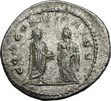 Salonina & Gallienus 255AD Authentic Silver Rare Ancient Roman Coin i58982
