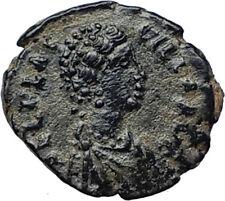AELIA FLACILLA Theodosius I Wife 383AD Ancient Roman Coin VICTORY CHI-RHO i70232