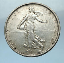1963 FRANCE French LARGE Silver 5 Francs Coin w La Semeuse SOWER WOMAN i68210