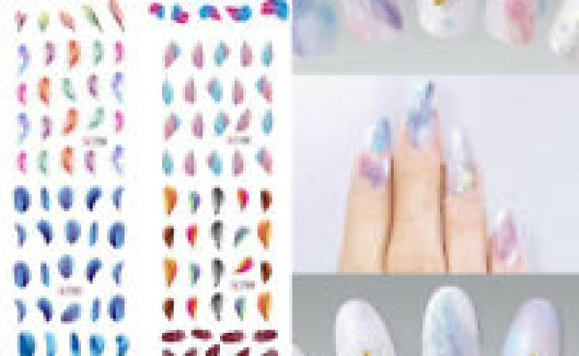Feather Nail Art Water Transfer Decal Sticker Rainbow
